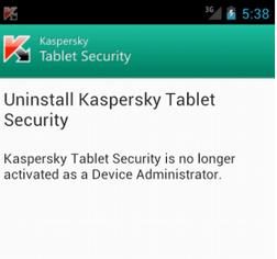 come disinstallare kaspersky da android
